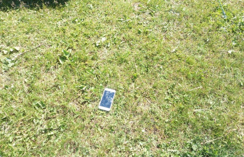 телефон на траве
