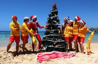 Новогодняя елка на пляже