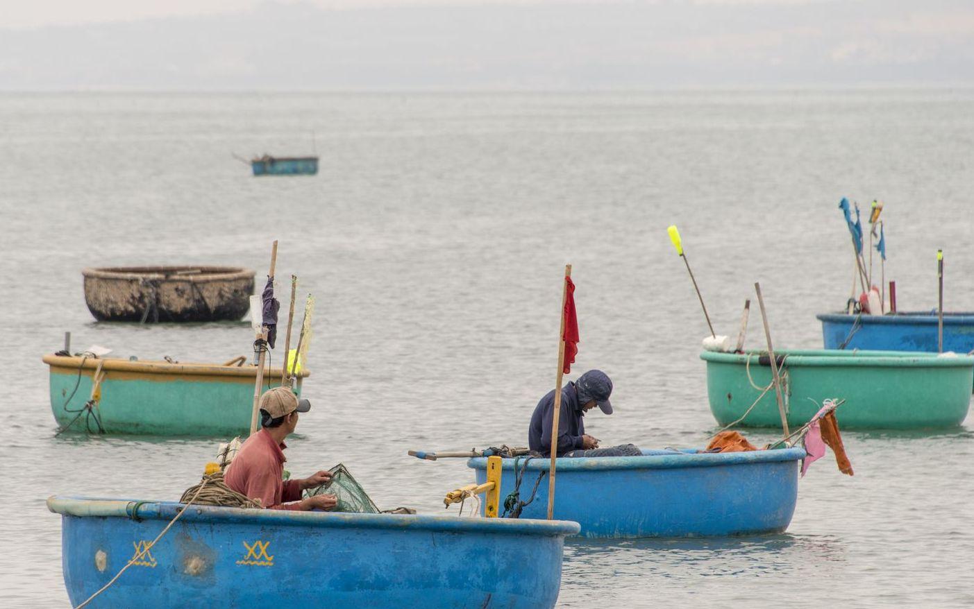 Лодки тазики рыбаков во Вьетнаме