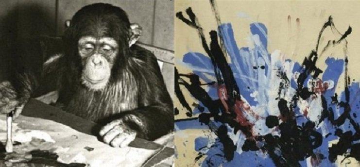 Конго шимпанзе художник